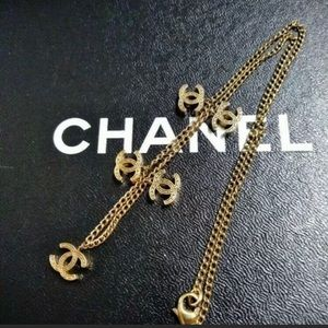VINTAGE Chanel Choker LOGO Necklace in Gold RARE